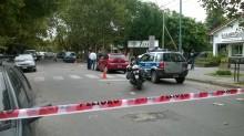 El Citroën C3 tras el enfrentamiento entre la policía y los ladrones.